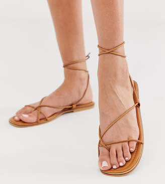 c94db687b438 Missguided barely there flat sandal with tie leg in tan
