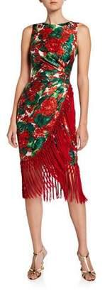 Dolce & Gabbana Geranium-Print Twill Fringe Dress