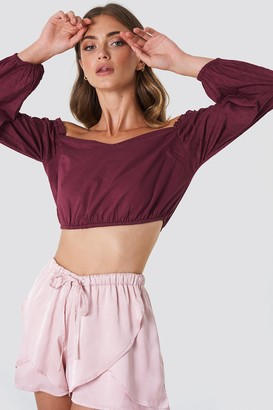 Iva Nikolina X Na Kd Off Shoulder Balloon Sleeve Top Burgundy
