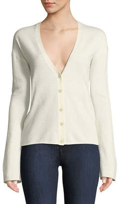 Theory Bell-Sleeve V-Neck Button-Front Cashmere Cardigan