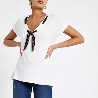 River Island Womens White scarf neck loose fit T-shirt
