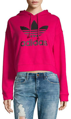 adidas Hooded Cropped Cotton Sweater