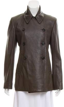 Nicole Farhi Leather Button-Up Jacket