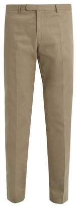 Gucci Bee Embroidered Slim Leg Stretch Cotton Trousers - Mens - Beige