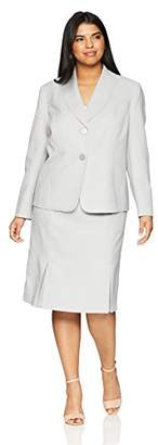 Le Suit Women's Size Plus Herringbone 2 Bttn Shawl Collar Skirt Suit