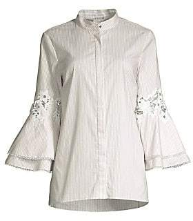 320be2f48e31 Elie Tahari Women's Kaila Pinstripe Eyelet Lace Bell Sleeve Button-Down  Shirt