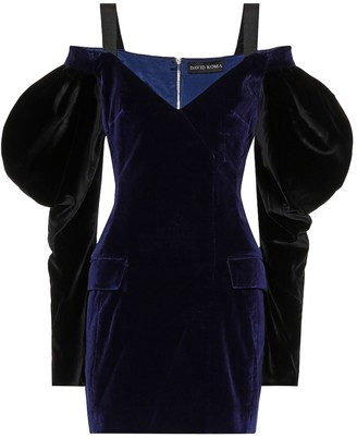 David Koma Velvet puff-sleeve minidress