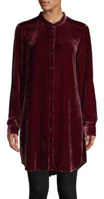Eileen Fisher Mandarin Collar Long-Sleeve Velvet Shirt
