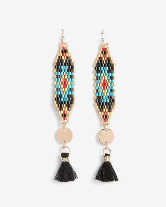 Express Patterned Seed Bead Tassel Drop Earrings