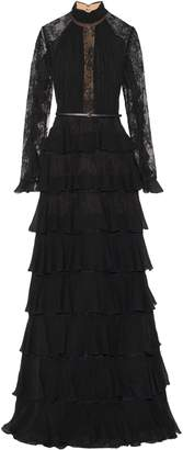 Elie Saab Lace-paneled Tiered Chiffon Gown