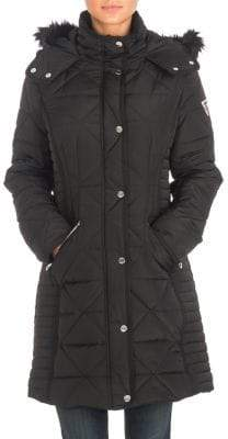 GUESS Quilted Faux Fur-Trimmed Puffer Jacket