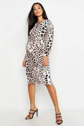 boohoo Maternity Twist Front Bodycon Midi Dress