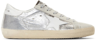 Golden Goose Silver Metallic Superstar Sneakers $480 thestylecure.com