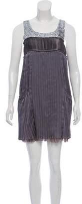 Alice + Olivia Embroidered Pleated Dress w/ Tags
