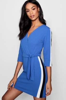 boohoo Contrast Stripe Belted Wrap Dress