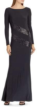 Ralph Lauren Sequin-Trim Jersey Gown