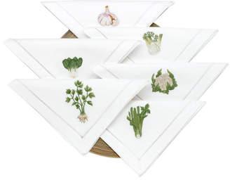 OKA Embroidered Vegetable Napkins, Set of 6