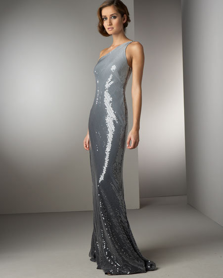 Carmen Marc Valvo Ombre Sequined Gown