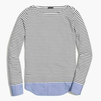 J.Crew Cuffed striped boatneck shirt with woven hem