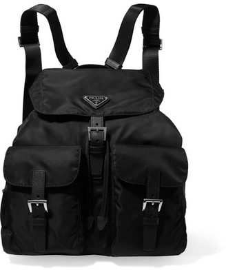 Prada - Vela Large Leather-trimmed Shell Backpack - Black $990 thestylecure.com