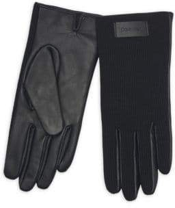 Calvin Klein Knit & Leather Gloves