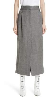 Tibi Herringbone Tweed Wool Pencil Skirt