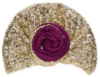 Julia Clancey - Edith Glitz Sequinned Silk Blend Turban - Womens - Purple