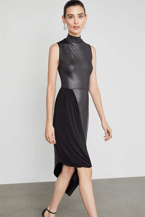 Liquid Turtleneck Asymmetric Dress
