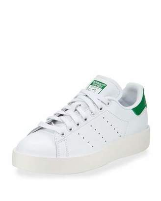 Adidas Stan Smith Bold Fashion Sneaker, White/Green $110 thestylecure.com