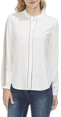 Vince Camuto Sapphire Sheen Cut-Out Button-Down Shirt