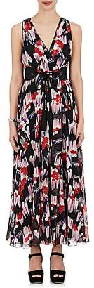 Marc Jacobs WOMEN'S FLORAL-PRINT SILK GEORGETTE BELTED GOWN - BLACK SIZE 6