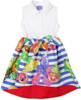 Stella Jean Fruit Print Waxed Cotton & Poplin Dress