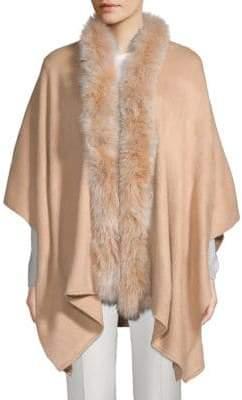 Adrienne Landau Dyed Fox Fur Trim Cape