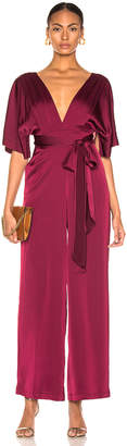 Nicholas Satin Wrap Sleeve Jumpsuit in Burgundy | FWRD