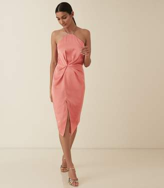 Reiss PAOLA HALTER NECK COCKTAIL DRESS Coral