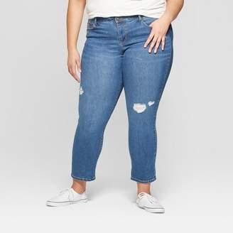 Ava & Viv Women's Plus Size Distressed Boyfriend Jeans Light Wash