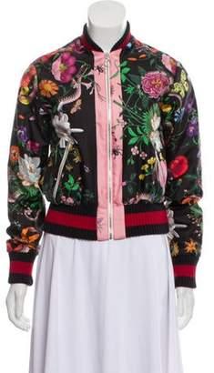 Gucci Flora Snake Print Silk Bomber Jacket Black Flora Snake Print Silk Bomber Jacket