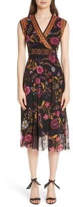 Fuzzi Reversible Folk Floral Print Tulle Dress
