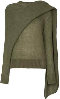REJINA PYO draped-scarf knitted sweater