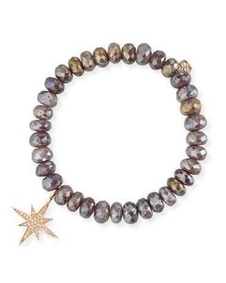 Sydney Evan 8mm Quartz Beaded Bracelet w/ 14k Diamond Starburst Charm