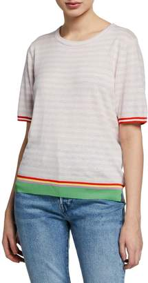 Kule The Evelyn Striped Short-Sleeve Cotton Top