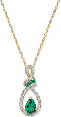 Macy's Emerald (3/4 ct. t.w.) and Diamond (1/5 ct. t.w.) Pendant Necklace in 14k Gold
