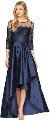 Adrianna Papell Long Sleeve Lace Illusion Bodice with Taffeta High-low Cascade Skirt Women's Dress