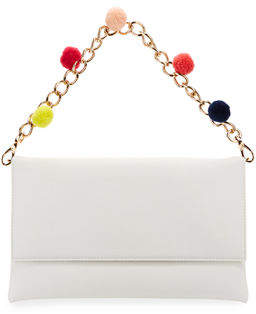 Neiman Marcus Pompom Chain Clutch Bag