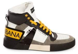 Dolce & Gabbana Milano High-Top Leather& Suede Sneakers