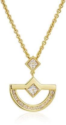 Nicole Miller New York Crescent Classic Baguette Gold Pendant Necklace