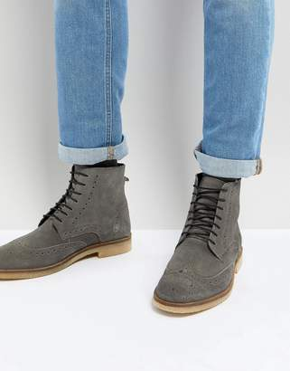 Asos DESIGN Brogue Boots In Gray Suede With Natural Sole