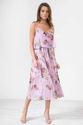 Urban Touch Lilacfloral Pleated Camimididress