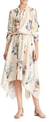 Lauren Ralph Lauren Floral Asymmetric-Hem Long-Sleeve Shirtdress