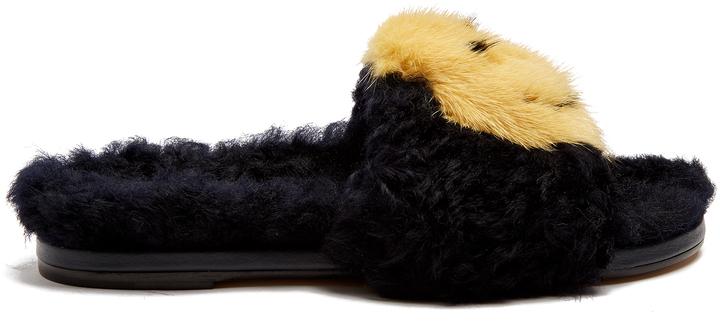 Anya HindmarchANYA HINDMARCH Smiley shearling and fur slides